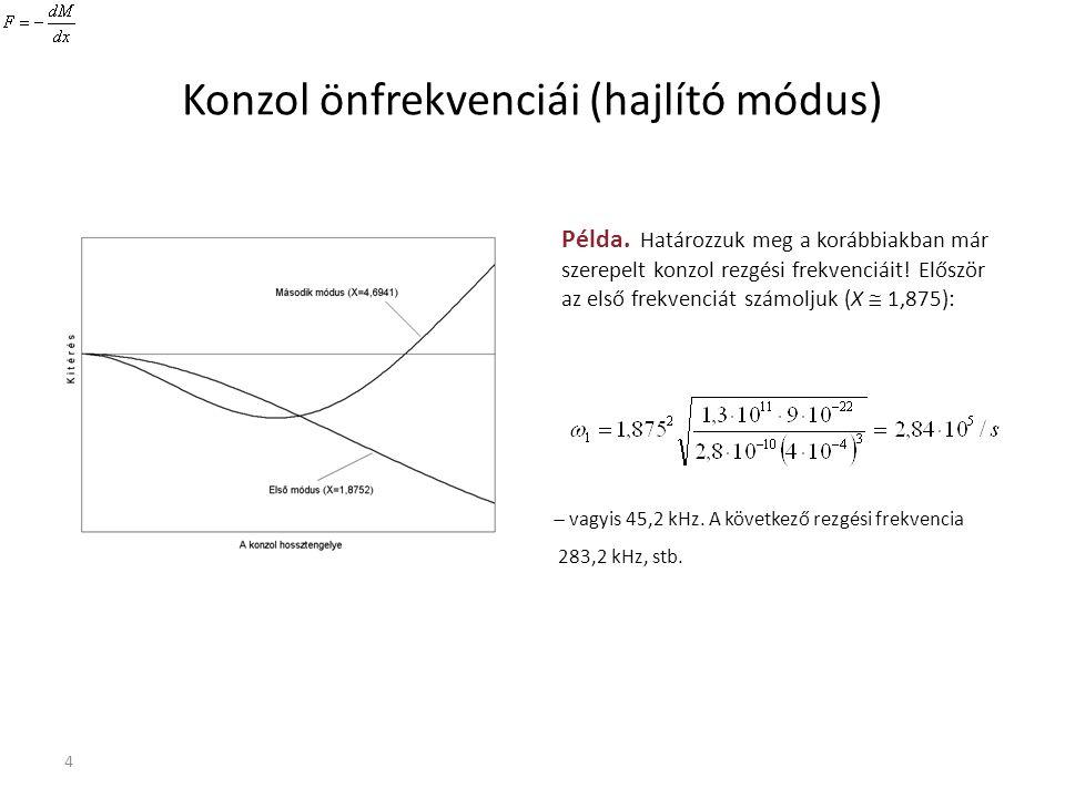 4 Konzol önfrekvenciái (hajlító módus) Példa. Határozzuk meg a korábbiakban már szerepelt konzol rezgési frekvenciáit! Először az első frekvenciát szá