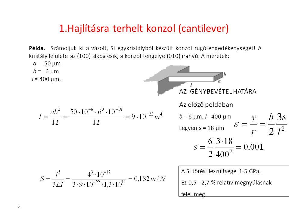 5 1.Hajlításra terhelt konzol (cantilever) Példa.Számoljuk ki a vázolt, Si egykristályból készült konzol rugó-engedékenységét! A kristály felülete az