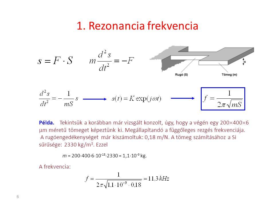 6 1. Rezonancia frekvencia Példa. Tekintsük a korábban már vizsgált konzolt, úgy, hogy a végén egy 200  400  6  m méretű tömeget képeztünk ki. Megá