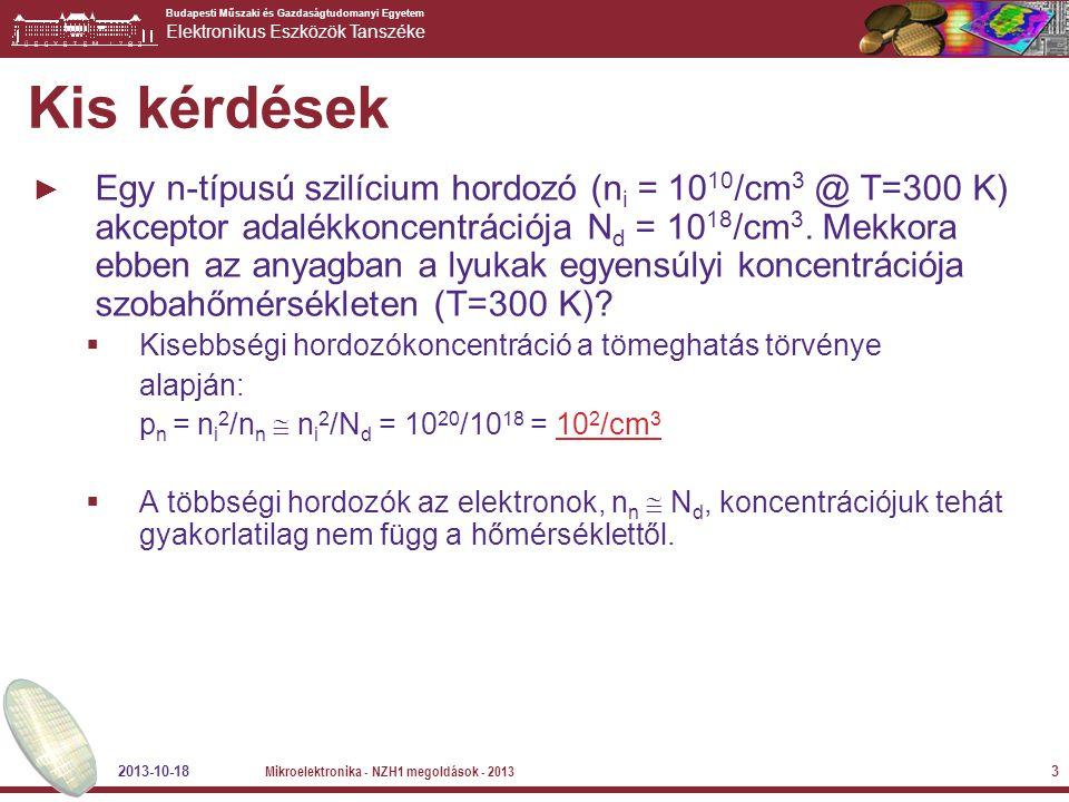 Budapesti Műszaki és Gazdaságtudomanyi Egyetem Elektronikus Eszközök Tanszéke 2013-10-18 Mikroelektronika - NZH1 megoldások - 2013 3 Kis kérdések ► Eg