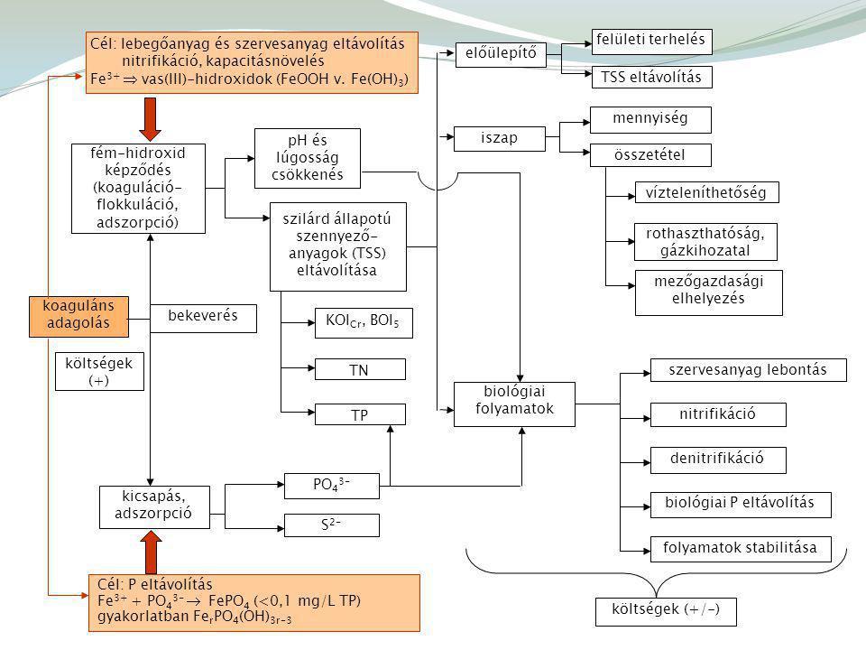 Cél: P eltávolítás Fe 3+ + PO 4 3-  FePO 4 (<0,1 mg/L TP) gyakorlatban Fe r PO 4 (OH) 3r-3 Cél: lebegőanyag és szervesanyag eltávolítás nitrifikáció, kapacitásnövelés Fe 3+  vas(III)-hidroxidok (FeOOH v.