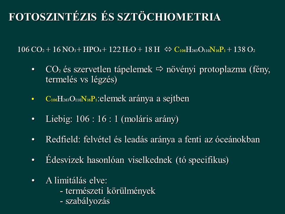 FOTOSZINTÉZIS ÉS SZTÖCHIOMETRIA FOTOSZINTÉZIS ÉS SZTÖCHIOMETRIA 106 CO 2 + 16 NO 3 + HPO 4 + 122 H 2 O + 18 H  C 106 H 263 O 110 N 16 P 1 + 138 O 2 CO 2 és szervetlen tápelemek  növényi protoplazma (fény, termelés vs légzés)CO 2 és szervetlen tápelemek  növényi protoplazma (fény, termelés vs légzés) C 106 H 263 O 110 N 16 P 1 :elemek aránya a sejtbenC 106 H 263 O 110 N 16 P 1 :elemek aránya a sejtben Liebig: 106 : 16 : 1 (moláris arány)Liebig: 106 : 16 : 1 (moláris arány) Redfield: felvétel és leadás aránya a fenti az óceánokbanRedfield: felvétel és leadás aránya a fenti az óceánokban Édesvizek hasonlóan viselkednek (tó specifikus)Édesvizek hasonlóan viselkednek (tó specifikus) A limitálás elve:A limitálás elve: - természeti körülmények - szabályozás