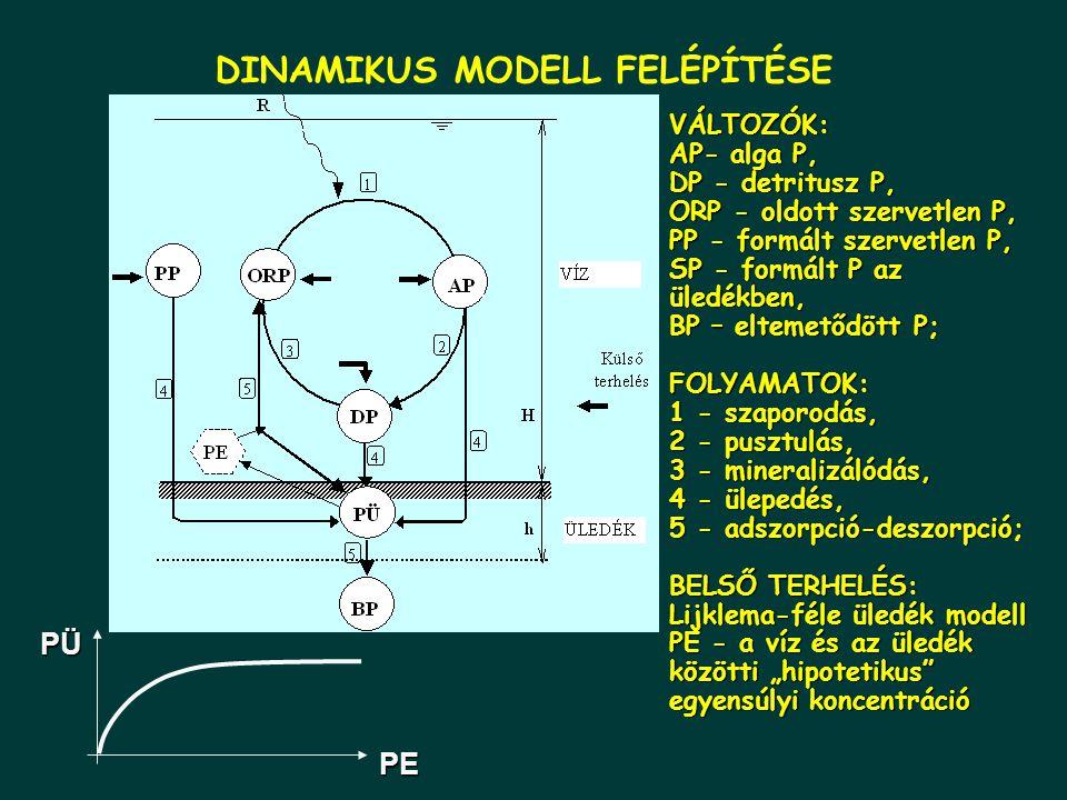 """DINAMIKUS MODELL FELÉPÍTÉSE VÁLTOZÓK: AP- alga P, DP - detritusz P, ORP - oldott szervetlen P, PP - formált szervetlen P, SP - formált P az üledékben, BP – eltemetődött P; FOLYAMATOK: 1 - szaporodás, 2 - pusztulás, 3 - mineralizálódás, 4 - ülepedés, 5 - adszorpció-deszorpció; BELSŐ TERHELÉS: Lijklema-féle üledék modell PE - a víz és az üledék közötti """"hipotetikus egyensúlyi koncentráció PEPÜ"""