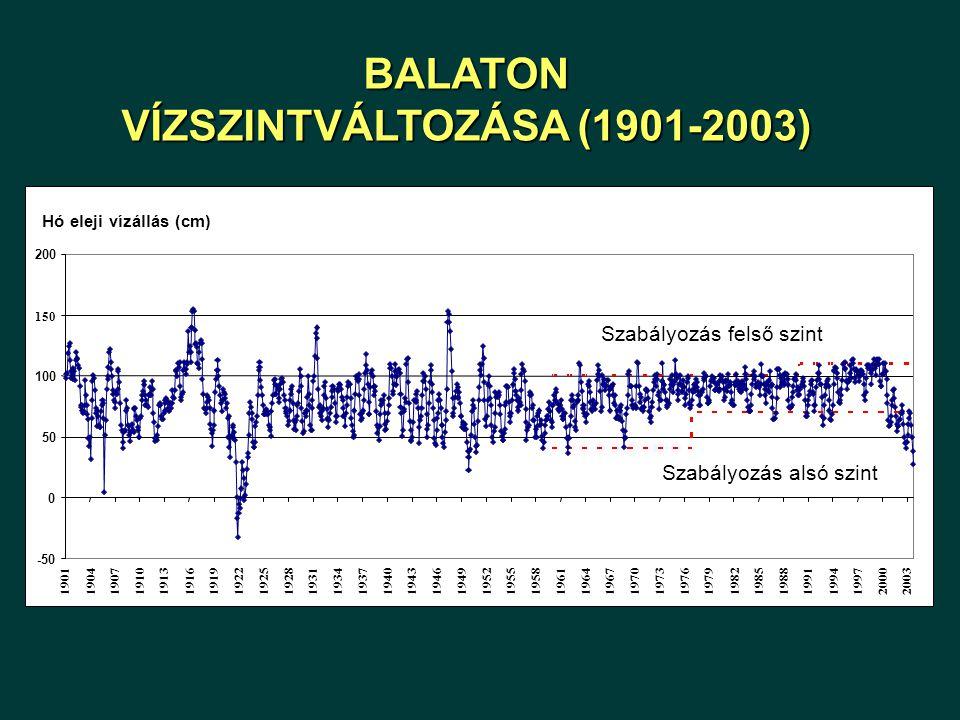 ÖP (mg/m 3 ) 0 0.5 1.0 1.5 2.0 2.5 1986198719881989199019911992199319941995199619971998199920002001 mért számított Dinamikus modell alkalmazása: szimuláció a beavatkozások előtti és utáni időszakra Tatai Öregtó (leeresztő zsilip) Hídvégi-tó (Balatonhídvég)