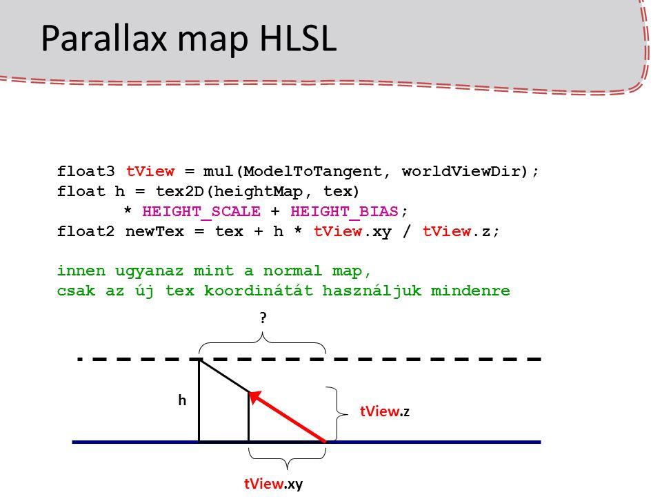 Parallax map HLSL float3 tView = mul(ModelToTangent, worldViewDir); float h = tex2D(heightMap, tex) * HEIGHT_SCALE + HEIGHT_BIAS; float2 newTex = tex