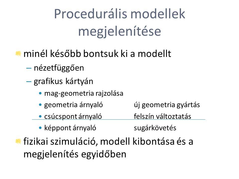 Procedurális modellek megjelenítése minél később bontsuk ki a modellt – nézetfüggően – grafikus kártyán mag-geometria rajzolása geometria árnyalóúj ge
