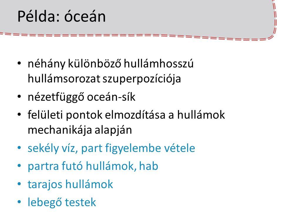 Példa: óceán néhány különböző hullámhosszú hullámsorozat szuperpozíciója nézetfüggő oceán-sík felületi pontok elmozdítása a hullámok mechanikája alapj