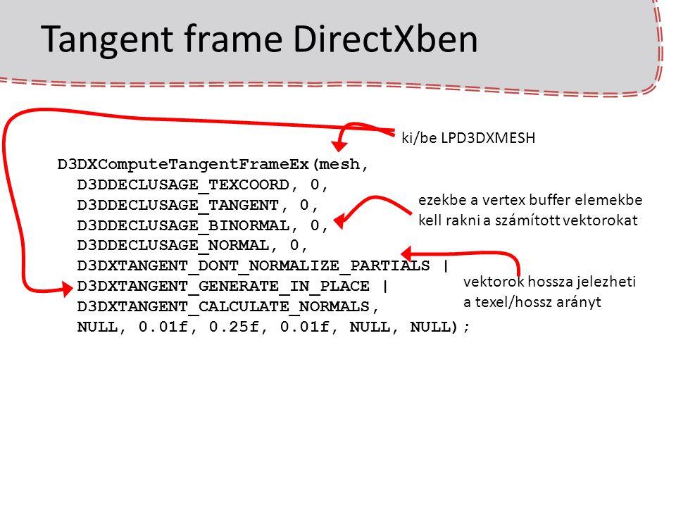 Tangent frame DirectXben D3DXComputeTangentFrameEx(mesh, D3DDECLUSAGE_TEXCOORD, 0, D3DDECLUSAGE_TANGENT, 0, D3DDECLUSAGE_BINORMAL, 0, D3DDECLUSAGE_NOR