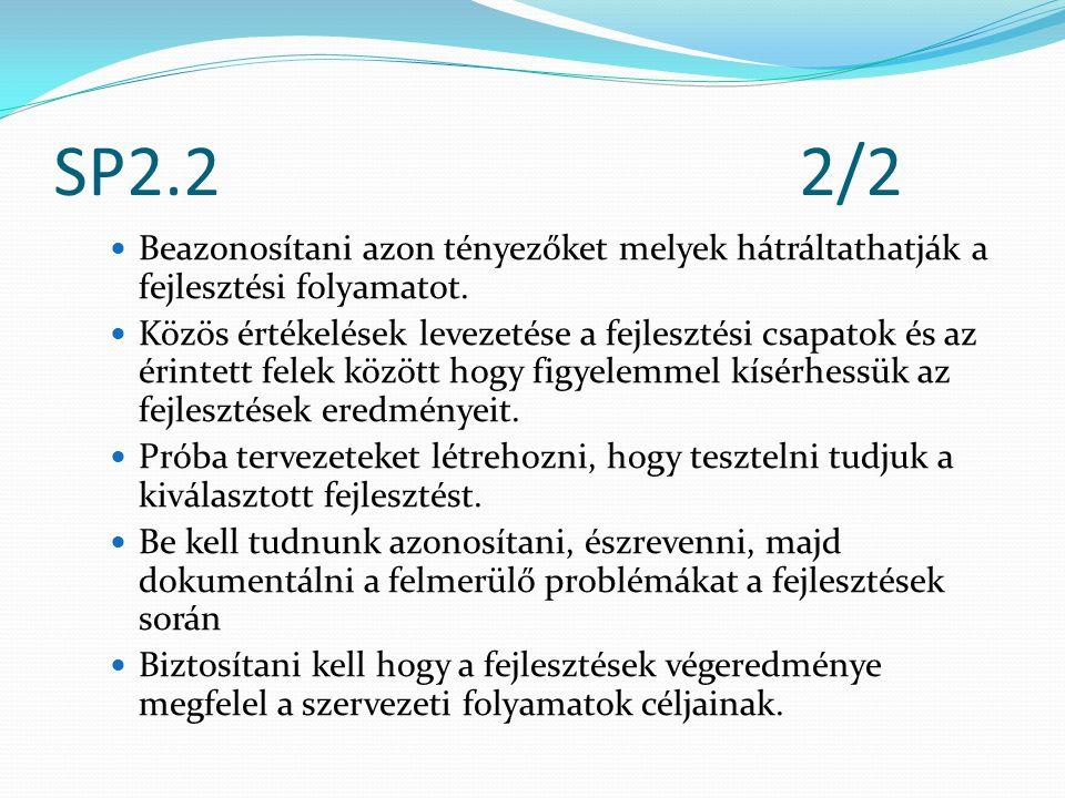 SP2.22/2 Beazonosítani azon tényezőket melyek hátráltathatják a fejlesztési folyamatot.