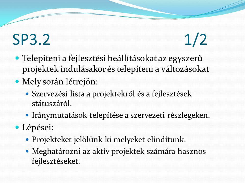 SP3.21/2 Telepíteni a fejlesztési beállításokat az egyszerű projektek indulásakor és telepíteni a változásokat Mely során létrejön: Szervezési lista a projektekről és a fejlesztések státuszáról.