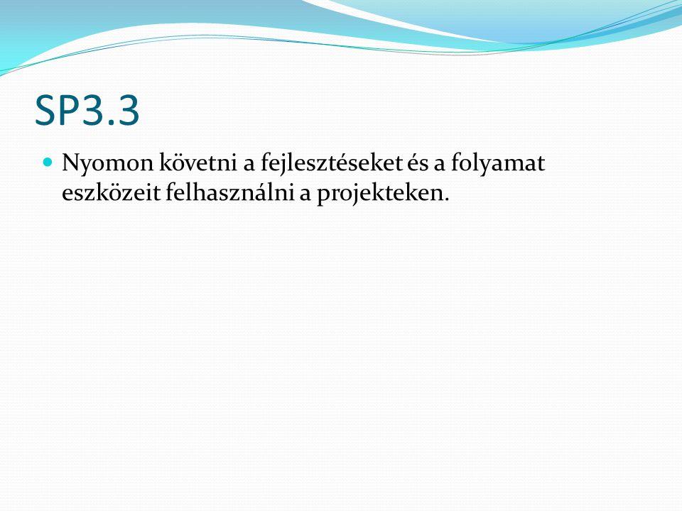 SP3.3 Nyomon követni a fejlesztéseket és a folyamat eszközeit felhasználni a projekteken.