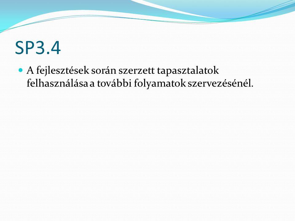 SP3.4 A fejlesztések során szerzett tapasztalatok felhasználása a további folyamatok szervezésénél.