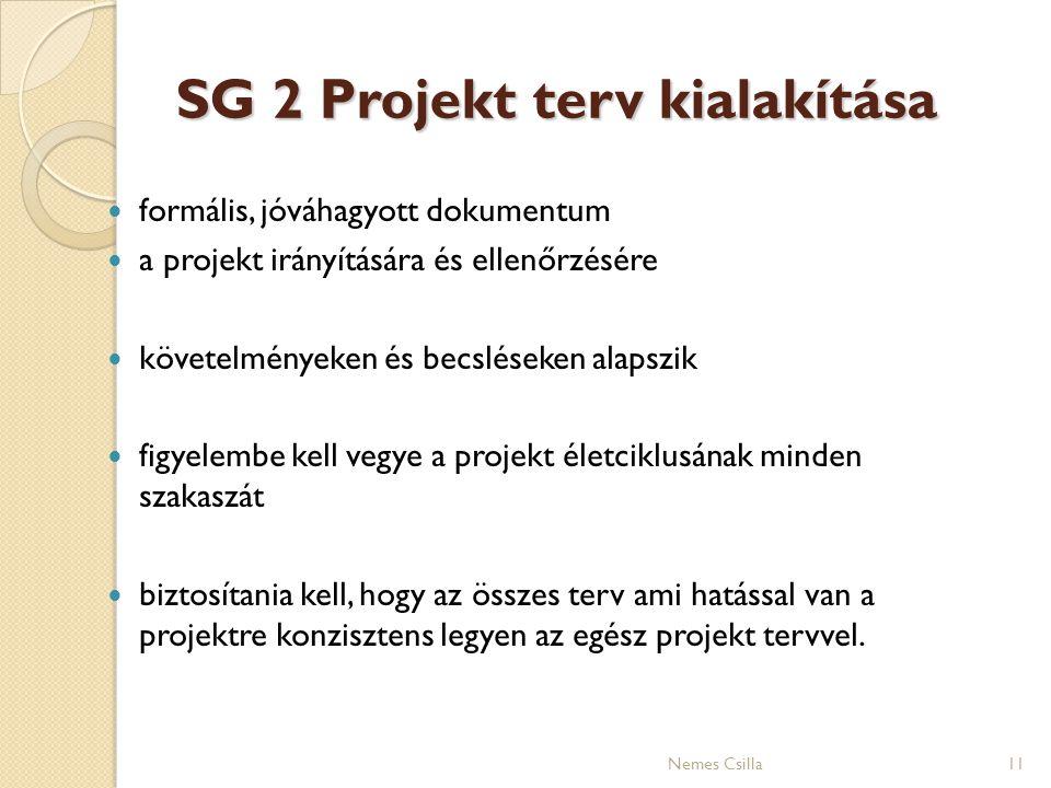 SG 2 Projekt terv kialakítása formális, jóváhagyott dokumentum a projekt irányítására és ellenőrzésére követelményeken és becsléseken alapszik figyele