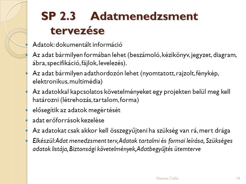 SP 2.3Adatmenedzsment tervezése 14 Adatok: dokumentált információ Az adat bármilyen formában lehet (beszámoló, kézikönyv, jegyzet, diagram, ábra, spec