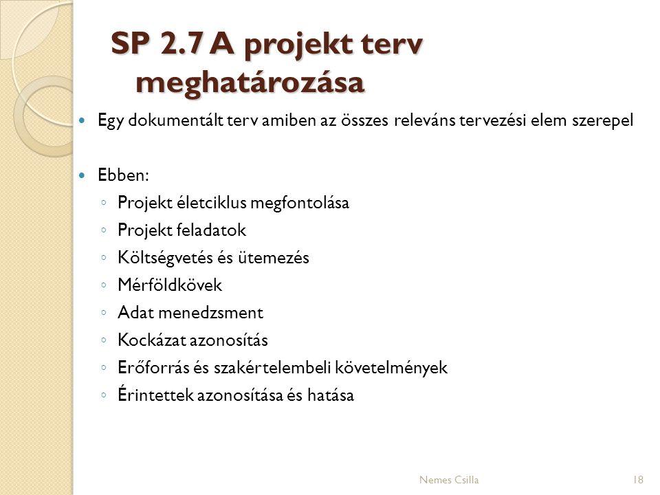 SP 2.7 A projekt terv meghatározása 18 Egy dokumentált terv amiben az összes releváns tervezési elem szerepel Ebben: ◦ Projekt életciklus megfontolása