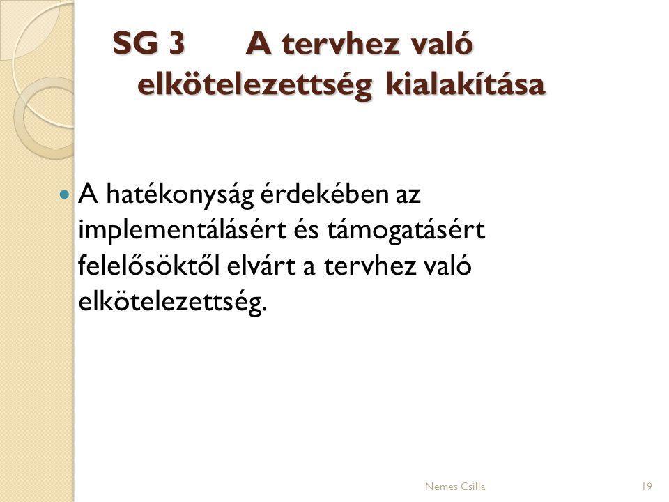 SG 3 A tervhez való elkötelezettség kialakítása A hatékonyság érdekében az implementálásért és támogatásért felelősöktől elvárt a tervhez való elkötel