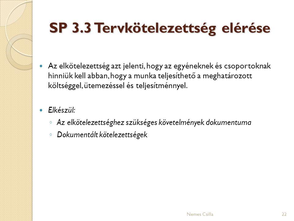 SP 3.3 Tervkötelezettség elérése Az elkötelezettség azt jelenti, hogy az egyéneknek és csoportoknak hinniük kell abban, hogy a munka teljesíthető a me