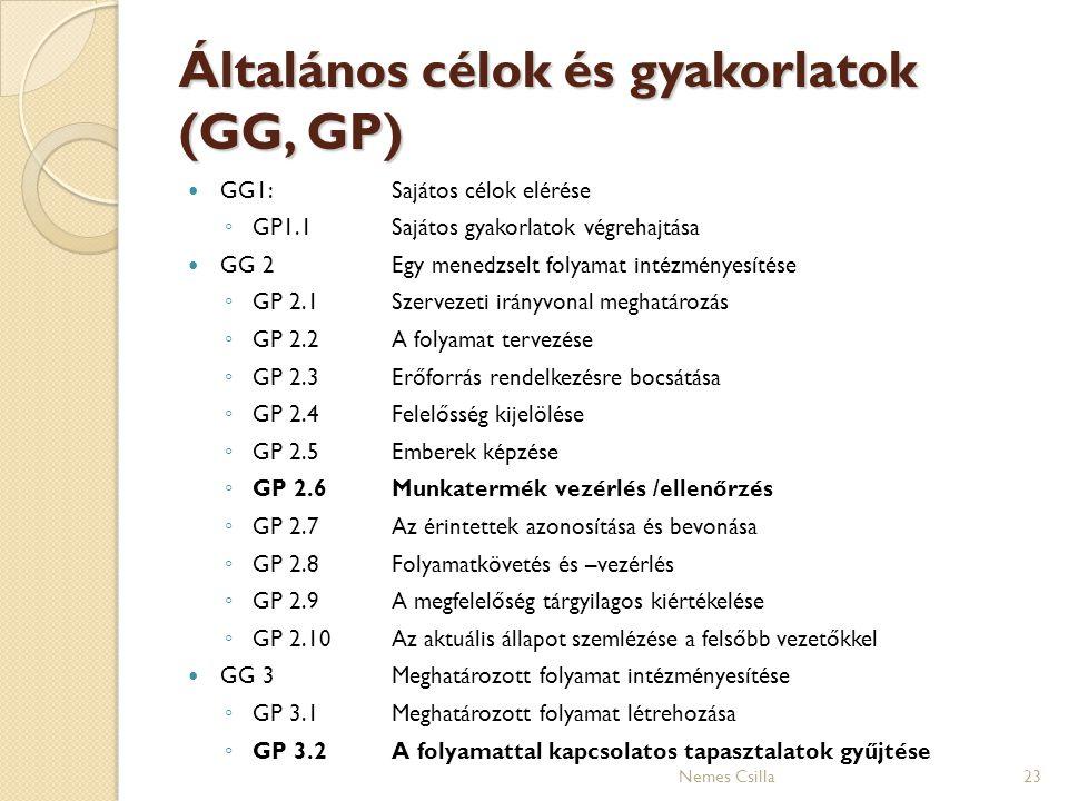 Általános célok és gyakorlatok (GG, GP) GG1:Sajátos célok elérése ◦ GP1.1Sajátos gyakorlatok végrehajtása GG 2 Egy menedzselt folyamat intézményesítés
