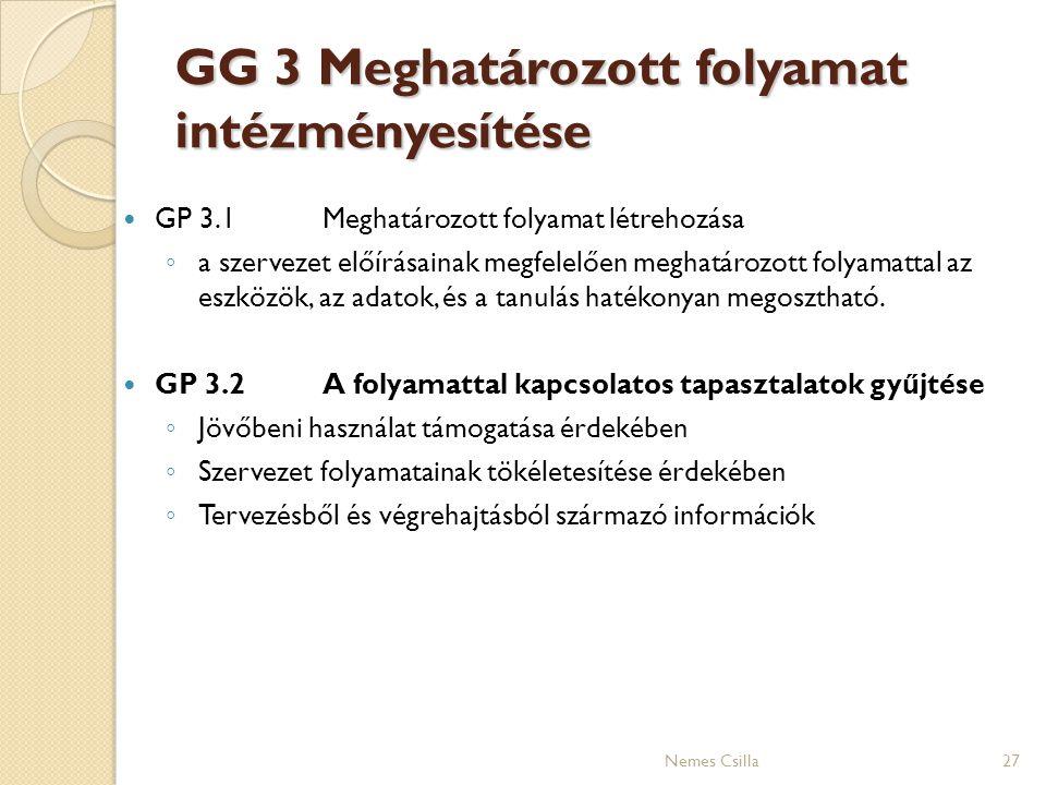 GG 3 Meghatározott folyamat intézményesítése GP 3.1Meghatározott folyamat létrehozása ◦ a szervezet előírásainak megfelelően meghatározott folyamattal