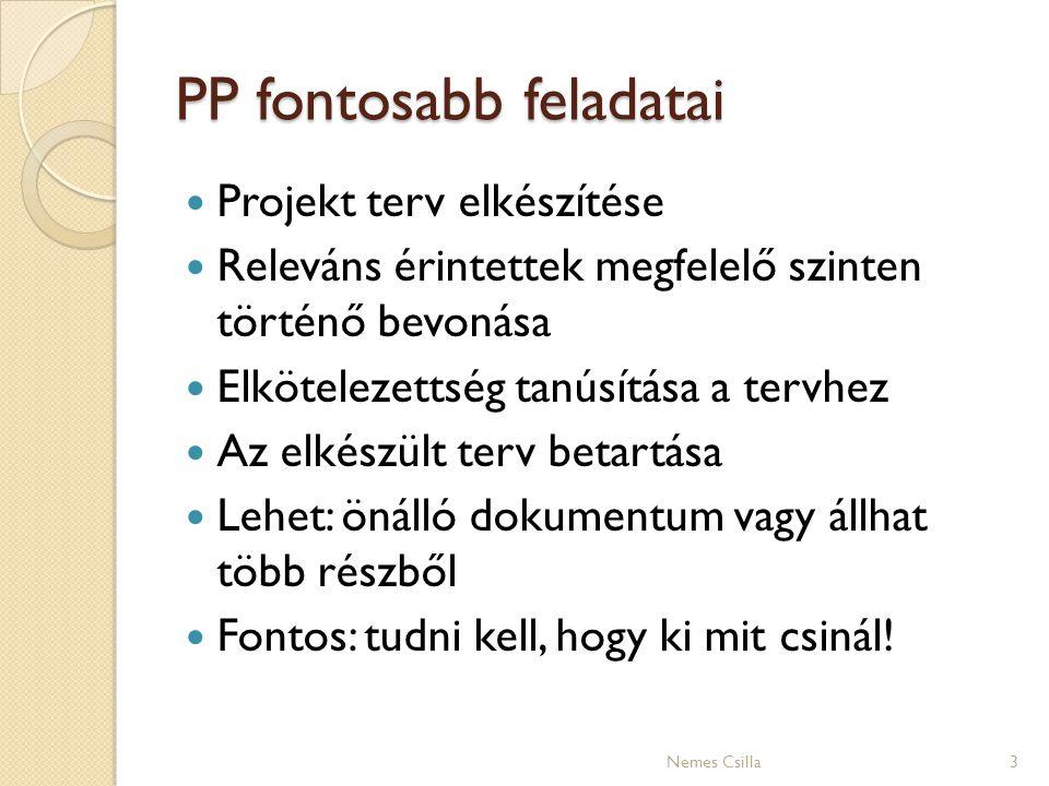 PP fontosabb feladatai 3 Projekt terv elkészítése Releváns érintettek megfelelő szinten történő bevonása Elkötelezettség tanúsítása a tervhez Az elkés