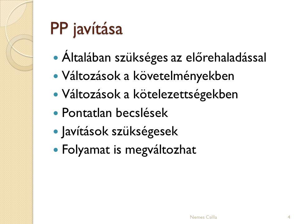 PP javítása 4 Általában szükséges az előrehaladással Változások a követelményekben Változások a kötelezettségekben Pontatlan becslések Javítások szüks