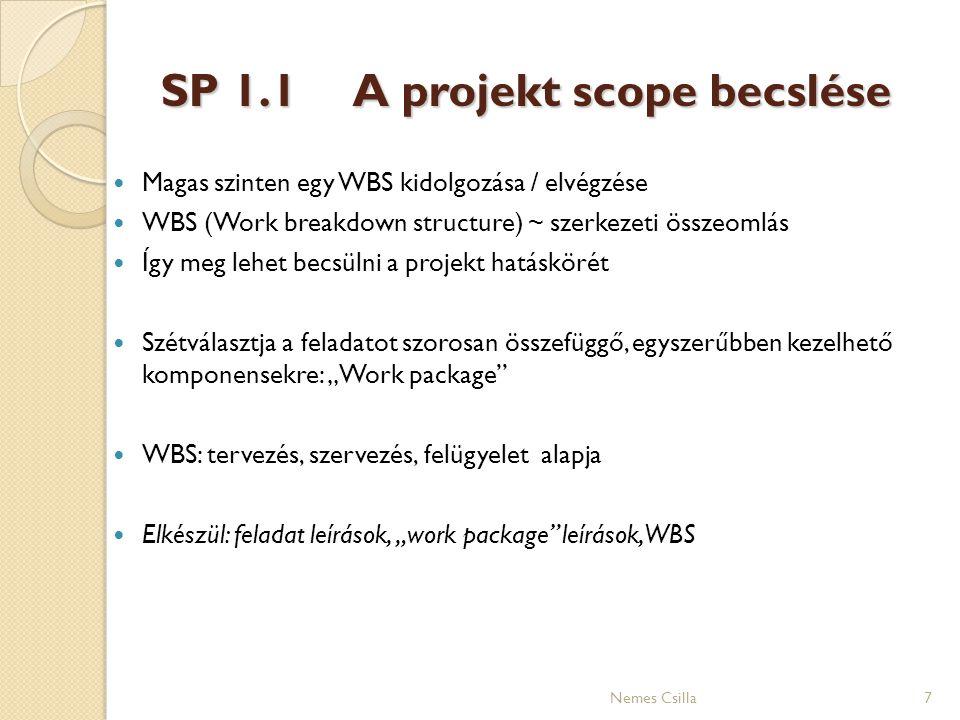 SP 1.1A projekt scope becslése 7Nemes Csilla Magas szinten egy WBS kidolgozása / elvégzése WBS (Work breakdown structure) ~ szerkezeti összeomlás Így