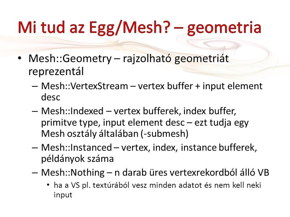 Mesh::Geometry – rajzolható geometriát reprezentál – Mesh::VertexStream – vertex buffer + input element desc – Mesh::Indexed – vertex bufferek, index buffer, primitve type, input element desc – ezt tudja egy Mesh osztály általában (-submesh) – Mesh::Instanced – vertex, index, instance bufferek, példányok száma – Mesh::Nothing – n darab üres vertexrekordból álló VB ha a VS pl.