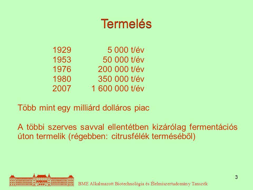 4 Fermentáció: Állandó mikrosz- kópos megfigyelés (pellet) citromsav konc.: 130 g/l mela- szon  200-250 g/l cukorból Konverzió: 87-92 %; Produktivitás: 0,67-0,75 kg citromsav/m 3 *h; ~16-18 kg citromsav/m 3 *nap Fruktóz: a szacharózból képző- dik invertálódással.