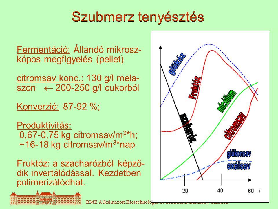 4 Fermentáció: Állandó mikrosz- kópos megfigyelés (pellet) citromsav konc.: 130 g/l mela- szon  200-250 g/l cukorból Konverzió: 87-92 %; Produktivitá