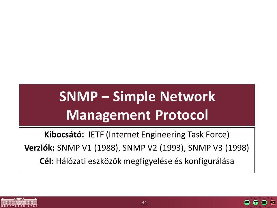 31 SNMP – Simple Network Management Protocol Kibocsátó: IETF (Internet Engineering Task Force) Verziók: SNMP V1 (1988), SNMP V2 (1993), SNMP V3 (1998) Cél: Hálózati eszközök megfigyelése és konfigurálása