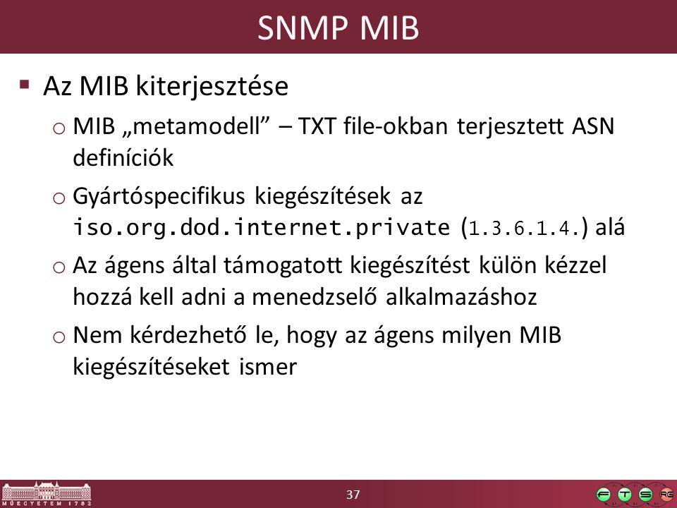 """37 SNMP MIB  Az MIB kiterjesztése o MIB """"metamodell – TXT file-okban terjesztett ASN definíciók o Gyártóspecifikus kiegészítések az iso.org.dod.internet.private ( 1.3.6.1.4."""
