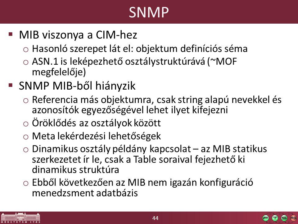 44 SNMP  MIB viszonya a CIM-hez o Hasonló szerepet lát el: objektum definíciós séma o ASN.1 is leképezhető osztálystruktúrává (~MOF megfelelője)  SNMP MIB-ből hiányzik o Referencia más objektumra, csak string alapú nevekkel és azonosítók egyezőségével lehet ilyet kifejezni o Öröklődés az osztályok között o Meta lekérdezési lehetőségek o Dinamikus osztály példány kapcsolat – az MIB statikus szerkezetet ír le, csak a Table soraival fejezhető ki dinamikus struktúra o Ebből következően az MIB nem igazán konfiguráció menedzsment adatbázis