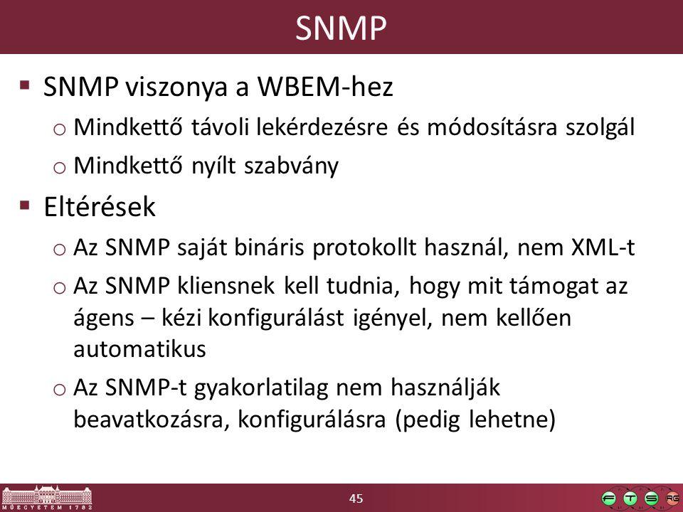 45 SNMP  SNMP viszonya a WBEM-hez o Mindkettő távoli lekérdezésre és módosításra szolgál o Mindkettő nyílt szabvány  Eltérések o Az SNMP saját bináris protokollt használ, nem XML-t o Az SNMP kliensnek kell tudnia, hogy mit támogat az ágens – kézi konfigurálást igényel, nem kellően automatikus o Az SNMP-t gyakorlatilag nem használják beavatkozásra, konfigurálásra (pedig lehetne)