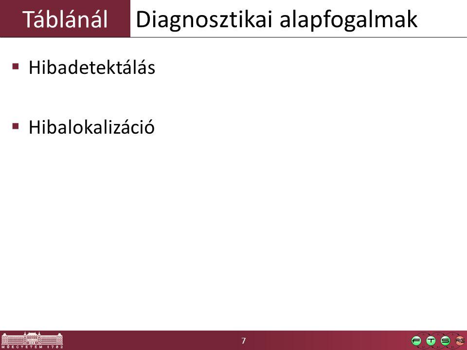 7 Táblánál  Hibadetektálás  Hibalokalizáció Diagnosztikai alapfogalmak