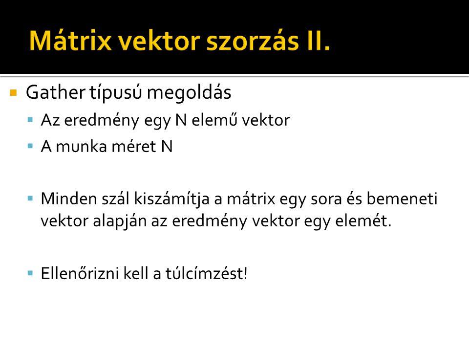  Gather típusú megoldás  Az eredmény egy N elemű vektor  A munka méret N  Minden szál kiszámítja a mátrix egy sora és bemeneti vektor alapján az eredmény vektor egy elemét.