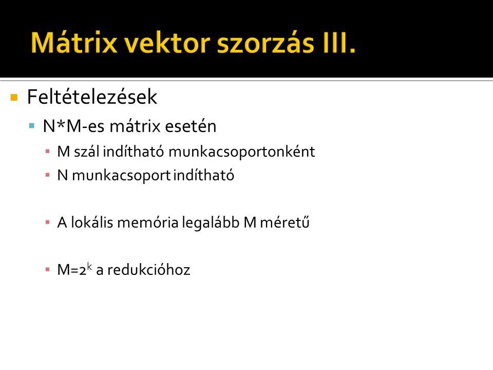  Feltételezések  N*M-es mátrix esetén ▪ M szál indítható munkacsoportonként ▪ N munkacsoport indítható ▪ A lokális memória legalább M méretű ▪ M=2 k a redukcióhoz