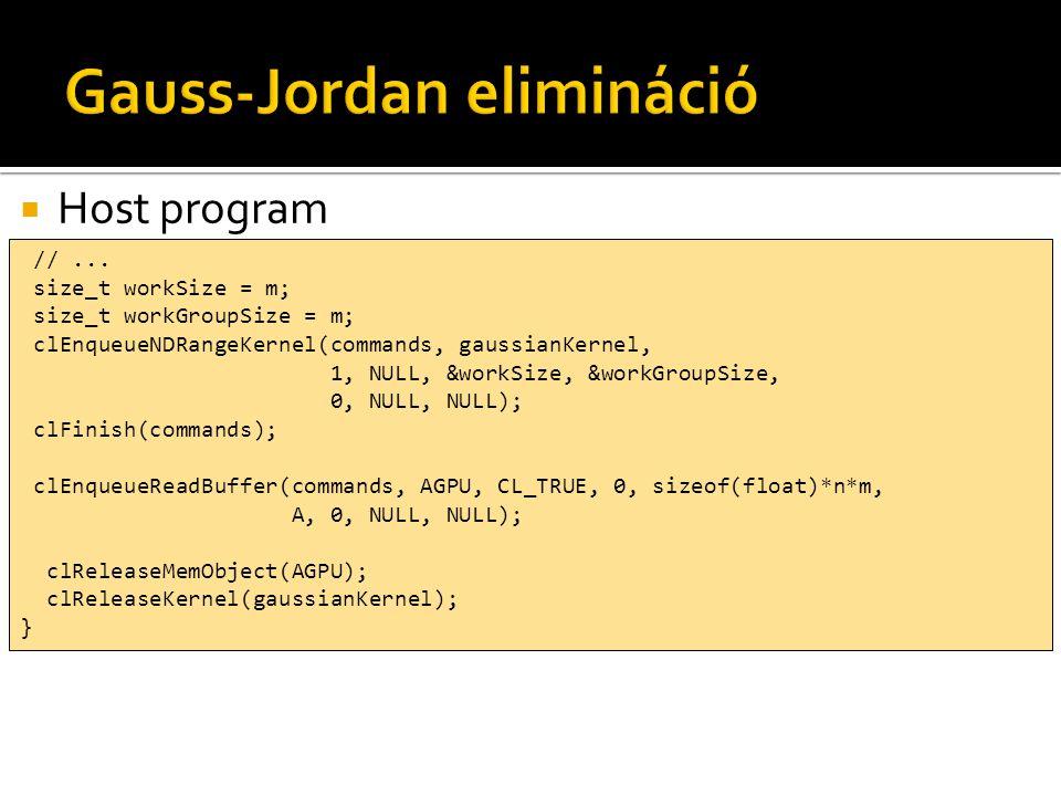  Host program //... size_t workSize = m; size_t workGroupSize = m; clEnqueueNDRangeKernel(commands, gaussianKernel, 1, NULL, &workSize, &workGroupSiz