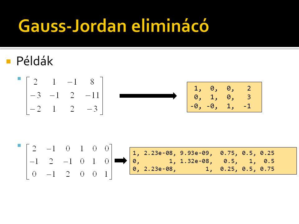  Példák  1, 2.23e-08, 9.93e-09, 0.75, 0.5, 0.25 0, 1, 1.32e-08, 0.5, 1, 0.5 0, 2.23e-08, 1, 0.25, 0.5, 0.75 1, 0, 0, 2 0, 1, 0, 3 -0, -0, 1, -1