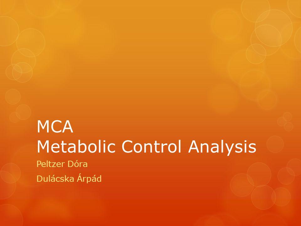 MCA Metabolic Control Analysis Peltzer Dóra Dulácska Árpád