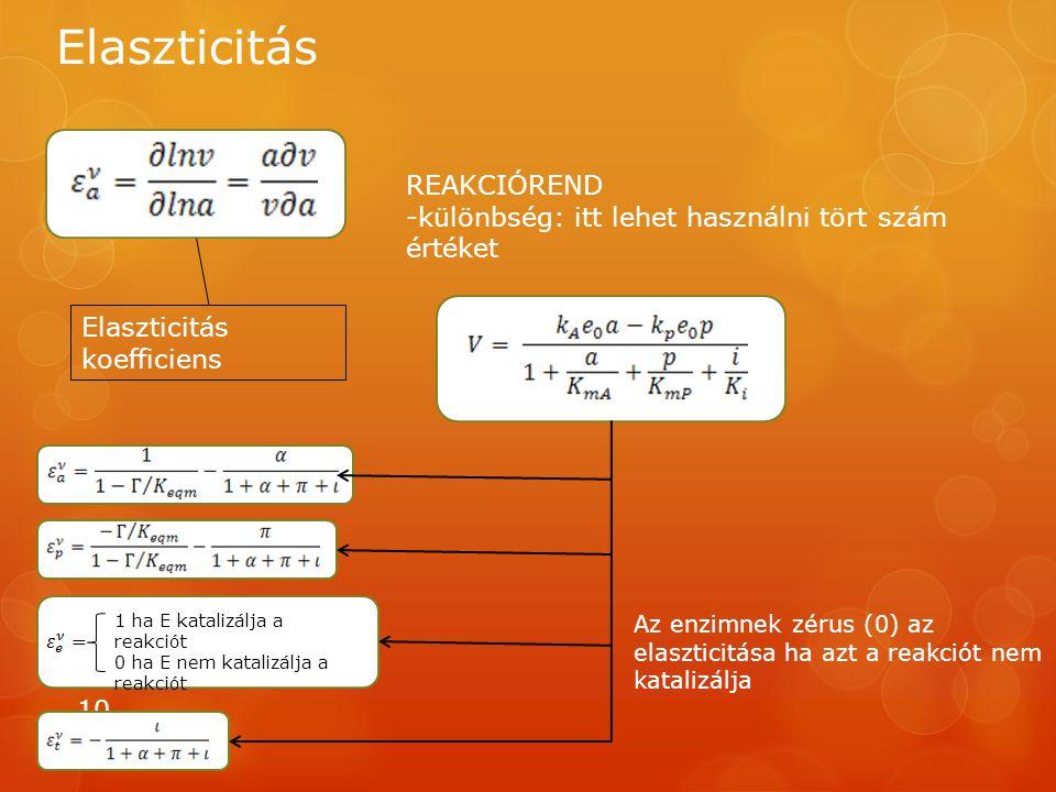 Elaszticitás 10 REAKCIÓREND -különbség: itt lehet használni tört szám értéket Elaszticitás koefficiens 1 ha E katalizálja a reakciót 0 ha E nem katalizálja a reakciót Az enzimnek zérus (0) az elaszticitása ha azt a reakciót nem katalizálja