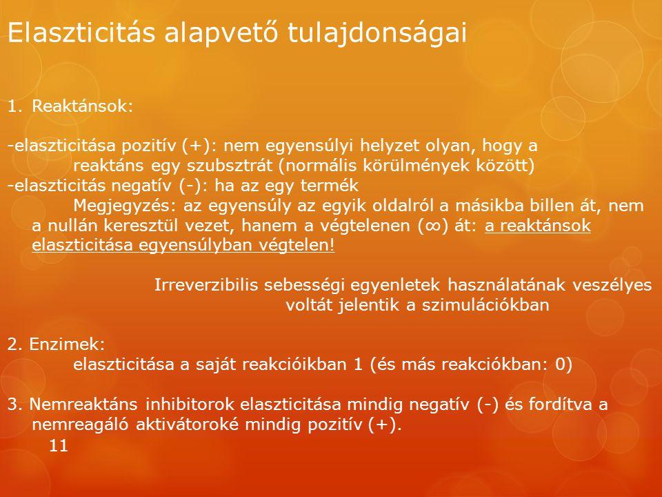 Elaszticitás alapvető tulajdonságai 11 1.Reaktánsok: -elaszticitása pozitív (+): nem egyensúlyi helyzet olyan, hogy a reaktáns egy szubsztrát (normáli