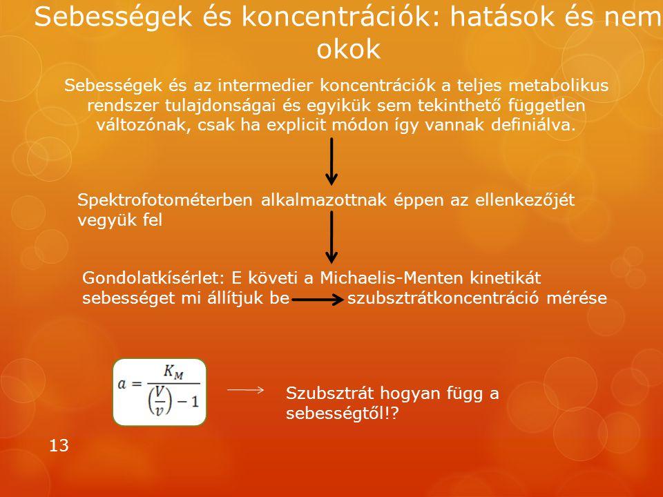 Sebességek és koncentrációk: hatások és nem okok 13 Sebességek és az intermedier koncentrációk a teljes metabolikus rendszer tulajdonságai és egyikük sem tekinthető független változónak, csak ha explicit módon így vannak definiálva.