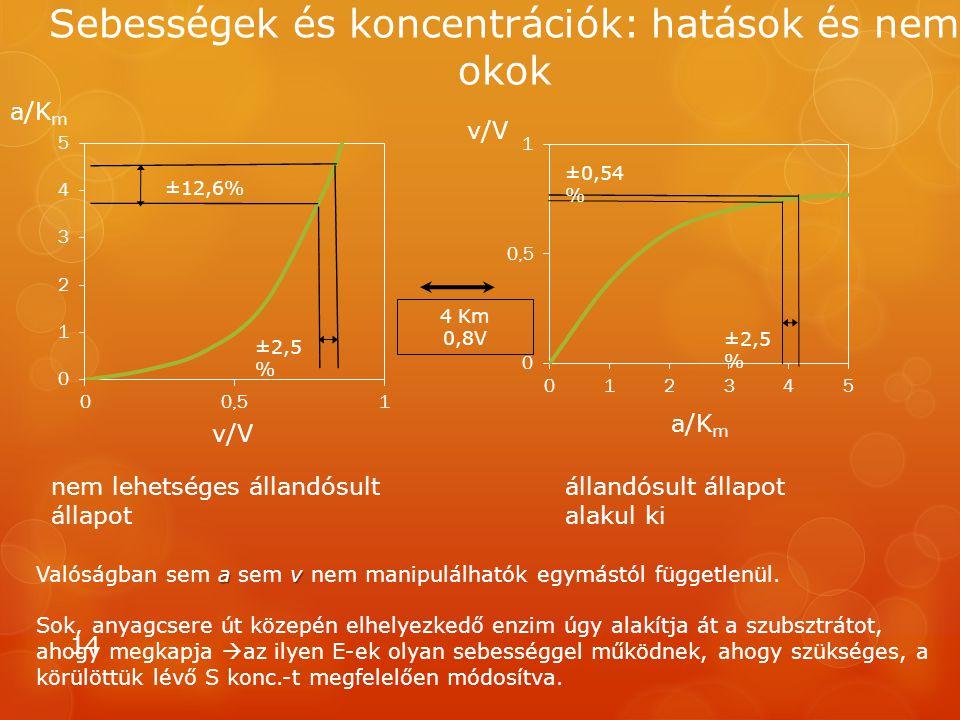 Sebességek és koncentrációk: hatások és nem okok 14 a/K m v/V 4 Km 0,8V ±12,6% ±2,5 % ±0,54 % ±2,5 % állandósult állapot alakul ki nem lehetséges állandósult állapot av Valóságban sem a sem v nem manipulálhatók egymástól függetlenül.