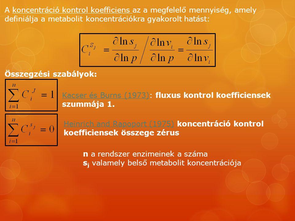A koncentráció kontrol koefficiens az a megfelelő mennyiség, amely definiálja a metabolit koncentrációkra gyakorolt hatást: Összegzési szabályok: Kacser és Burns (1973)Kacser és Burns (1973): fluxus kontrol koefficiensek szummája 1.