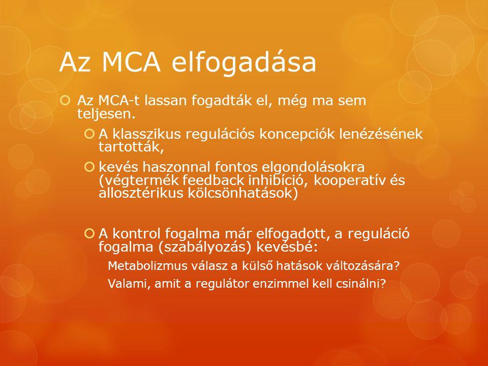 Az MCA elfogadása  Az MCA-t lassan fogadták el, még ma sem teljesen.  A klasszikus regulációs koncepciók lenézésének tartották,  kevés haszonnal fo