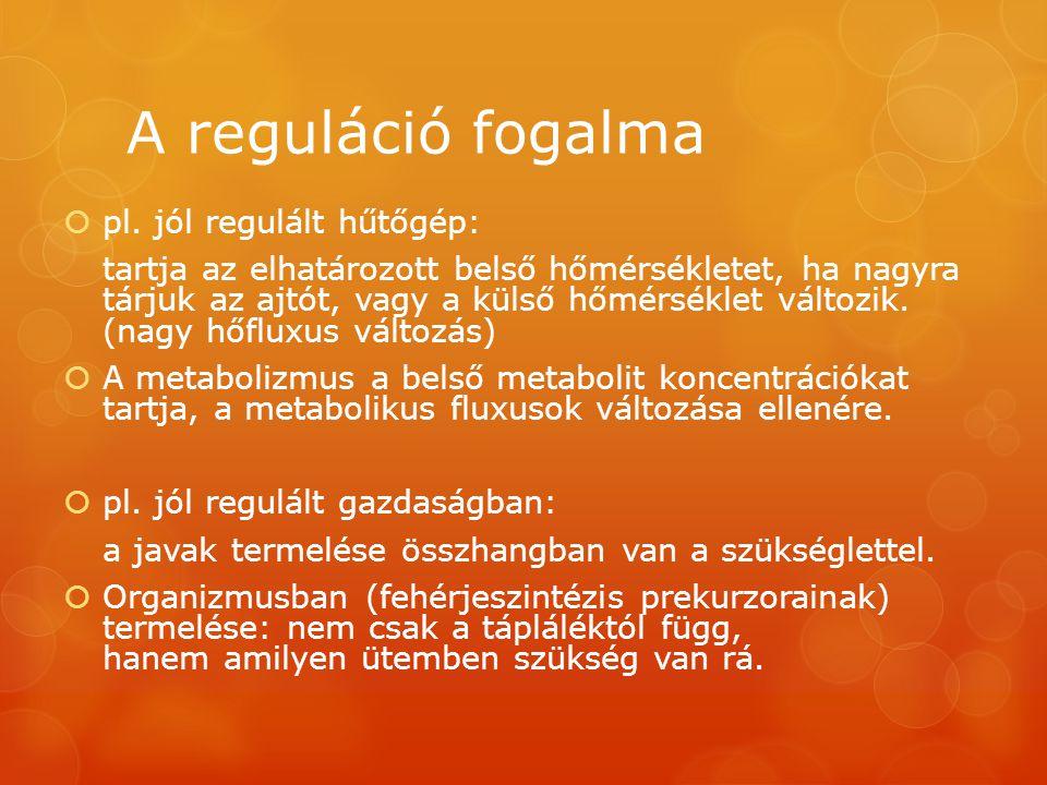 A reguláció fogalma  pl. jól regulált hűtőgép: tartja az elhatározott belső hőmérsékletet, ha nagyra tárjuk az ajtót, vagy a külső hőmérséklet változ