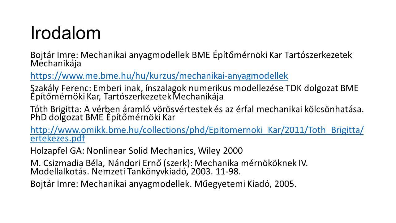 Irodalom Bojtár Imre: Mechanikai anyagmodellek BME Építőmérnöki Kar Tartószerkezetek Mechanikája https://www.me.bme.hu/hu/kurzus/mechanikai-anyagmodel