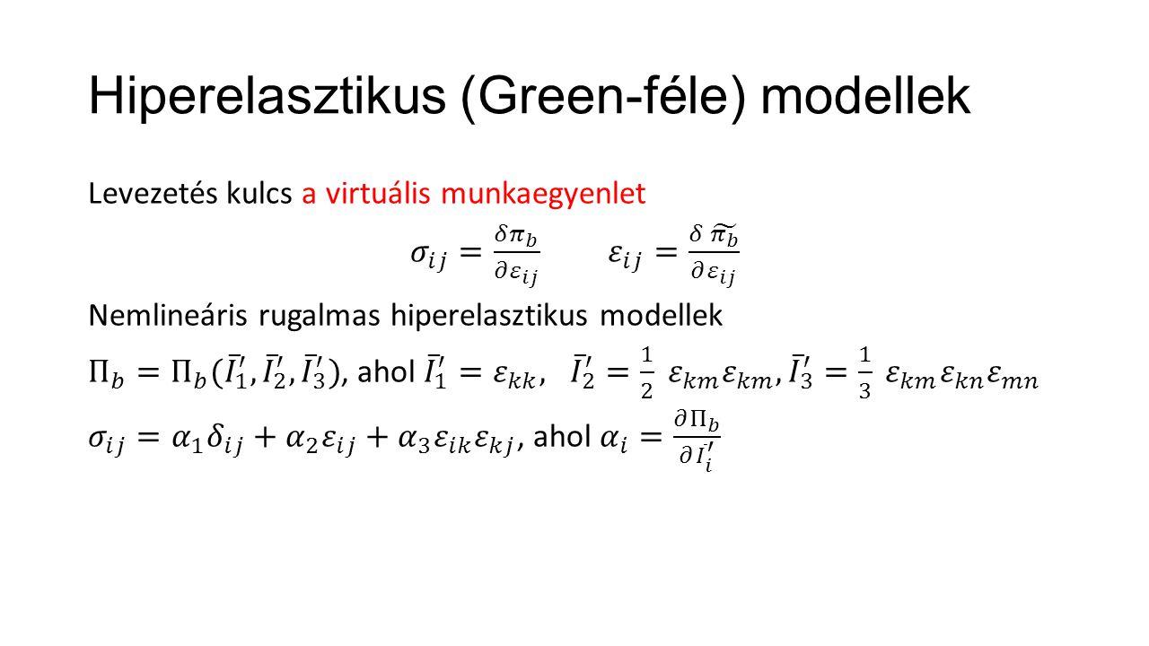 Hiperelasztikus (Green-féle) modellek