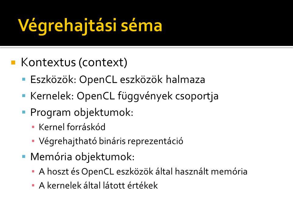  Kontextus (context)  Eszközök: OpenCL eszközök halmaza  Kernelek: OpenCL függvények csoportja  Program objektumok: ▪ Kernel forráskód ▪ Végrehajt