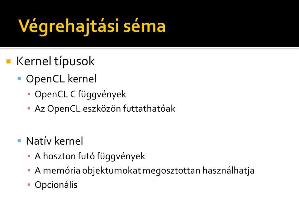  Kernel típusok  OpenCL kernel ▪ OpenCL C függvények ▪ Az OpenCL eszközön futtathatóak  Natív kernel ▪ A hoszton futó függvények ▪ A memória objekt